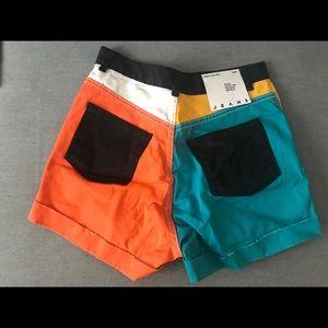 Color Block American Apparel Jean Shorts